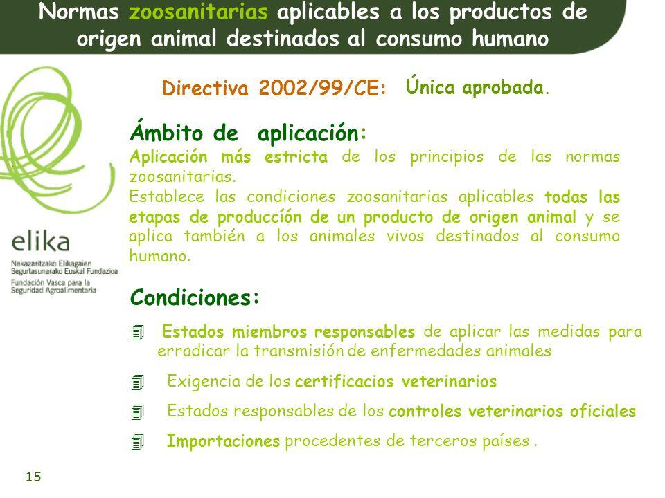 16 Estado de las propuestas Adopción por la Comisión: 14-07-2000 2 Primeras Propuestas: Higiene de los productos alimenticios e higiene de los alimentos de origen animal 3 a propuesta Controles oficiales de los productos de origen animal 4 a Propuesta Normas zoosanitarias Propuesta de Directiva del Parlamento Europeo y del Consejo por la que se derogan determinadas directivas Adopción posición común: 27-10-2003 1ª lectura 21-10- 2003 Aprobada 16-12-2002 1ª lectura: 3-6-2003