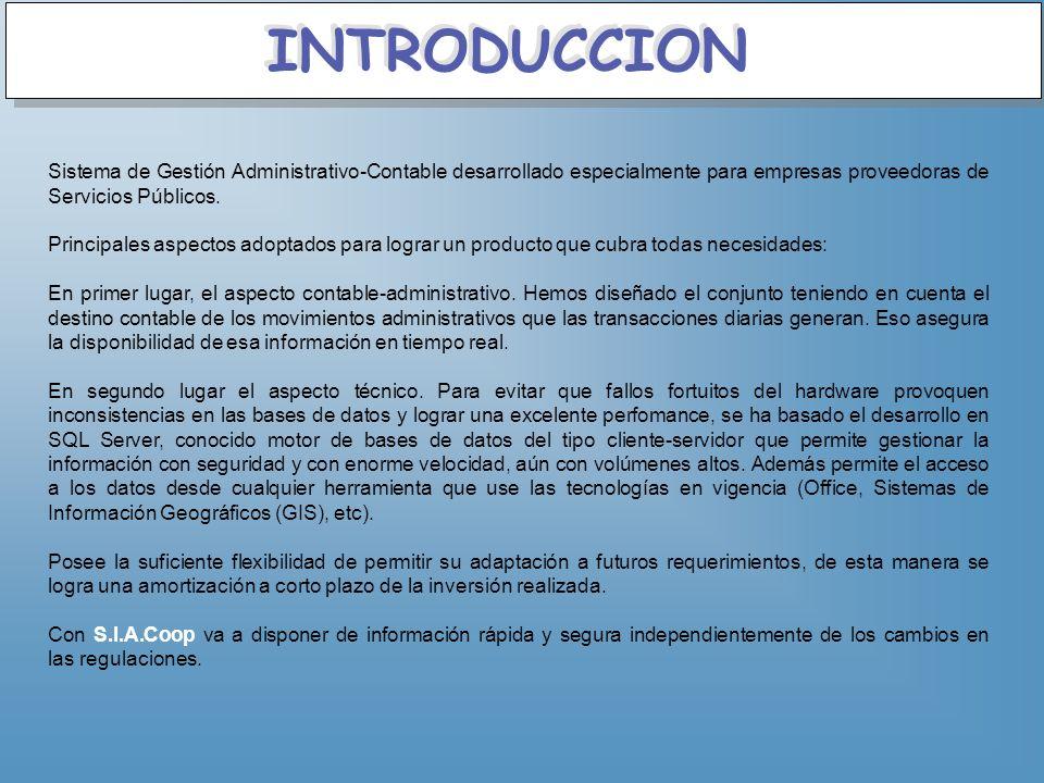 Sistema de Gestión Administrativo-Contable desarrollado especialmente para empresas proveedoras de Servicios Públicos. Principales aspectos adoptados