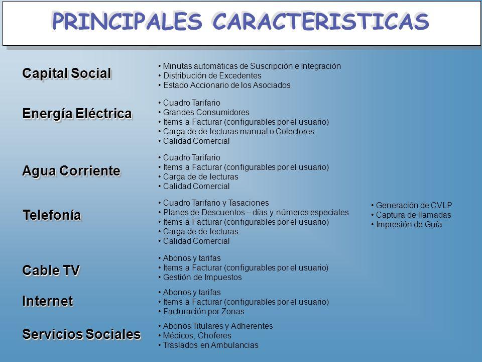 PRINCIPALES CARACTERISTICAS Capital Social Minutas automáticas de Suscripción e Integración Distribución de Excedentes Estado Accionario de los Asocia