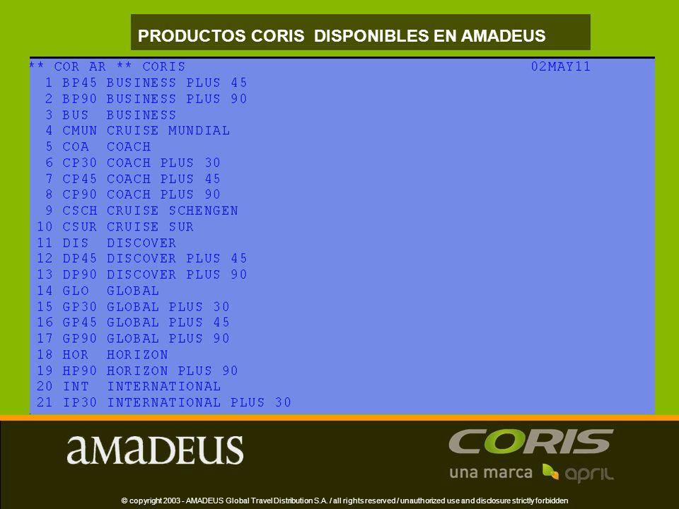 © copyright 2003 - AMADEUS Global Travel Distribution S.A.