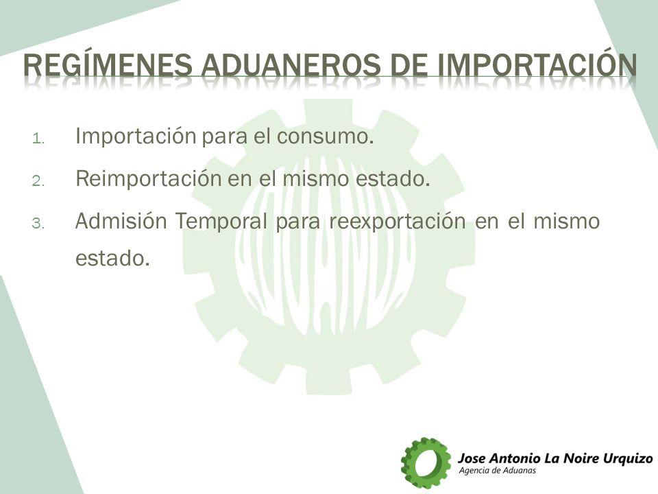 1. Importación para el consumo. 2. Reimportación en el mismo estado. 3. Admisión Temporal para reexportación en el mismo estado.