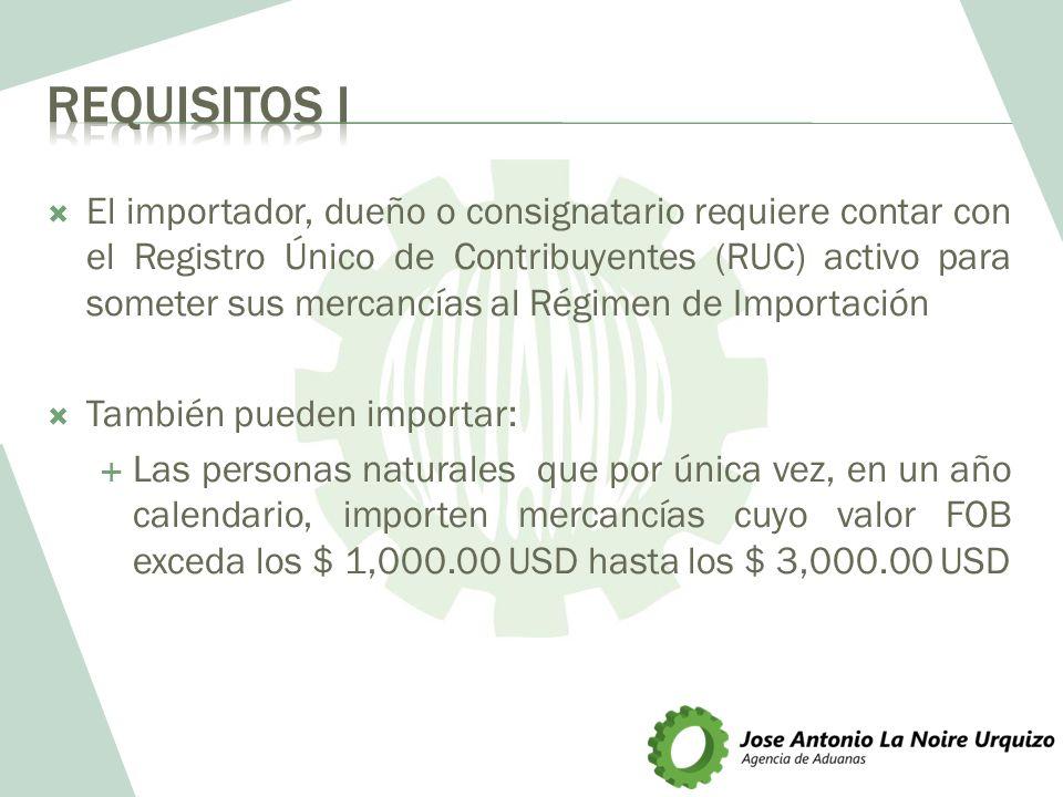 El importador, dueño o consignatario requiere contar con el Registro Único de Contribuyentes (RUC) activo para someter sus mercancías al Régimen de Im