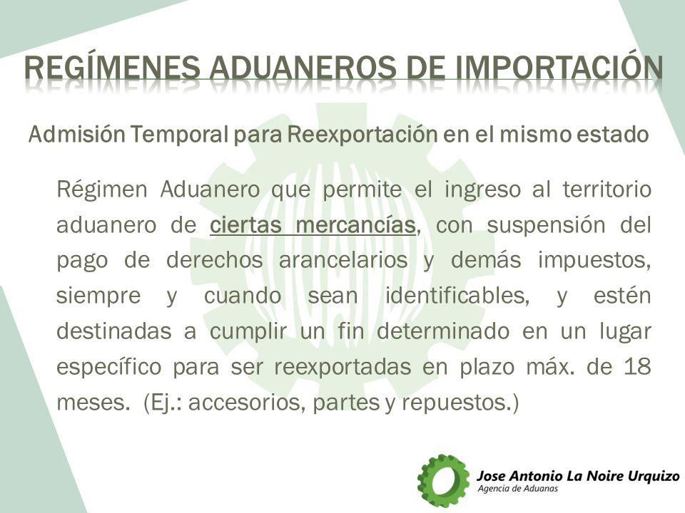 Admisión Temporal para Reexportación en el mismo estado Régimen Aduanero que permite el ingreso al territorio aduanero de ciertas mercancías, con susp