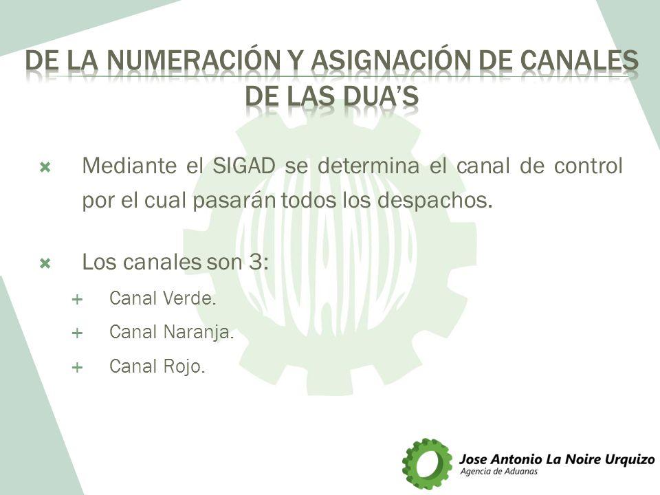 Mediante el SIGAD se determina el canal de control por el cual pasarán todos los despachos. Los canales son 3: Canal Verde. Canal Naranja. Canal Rojo.
