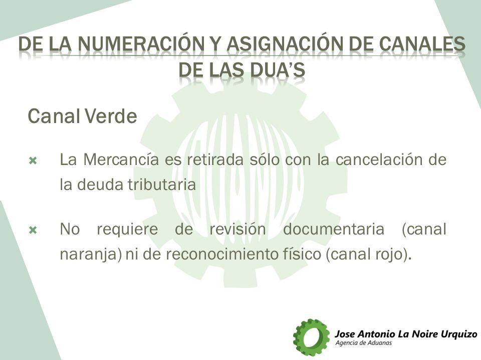 Canal Verde La Mercancía es retirada sólo con la cancelación de la deuda tributaria No requiere de revisión documentaria (canal naranja) ni de reconoc