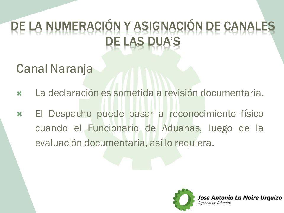 Canal Naranja La declaración es sometida a revisión documentaria. El Despacho puede pasar a reconocimiento físico cuando el Funcionario de Aduanas, lu