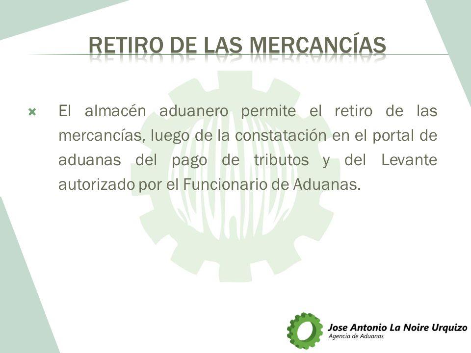 El almacén aduanero permite el retiro de las mercancías, luego de la constatación en el portal de aduanas del pago de tributos y del Levante autorizad