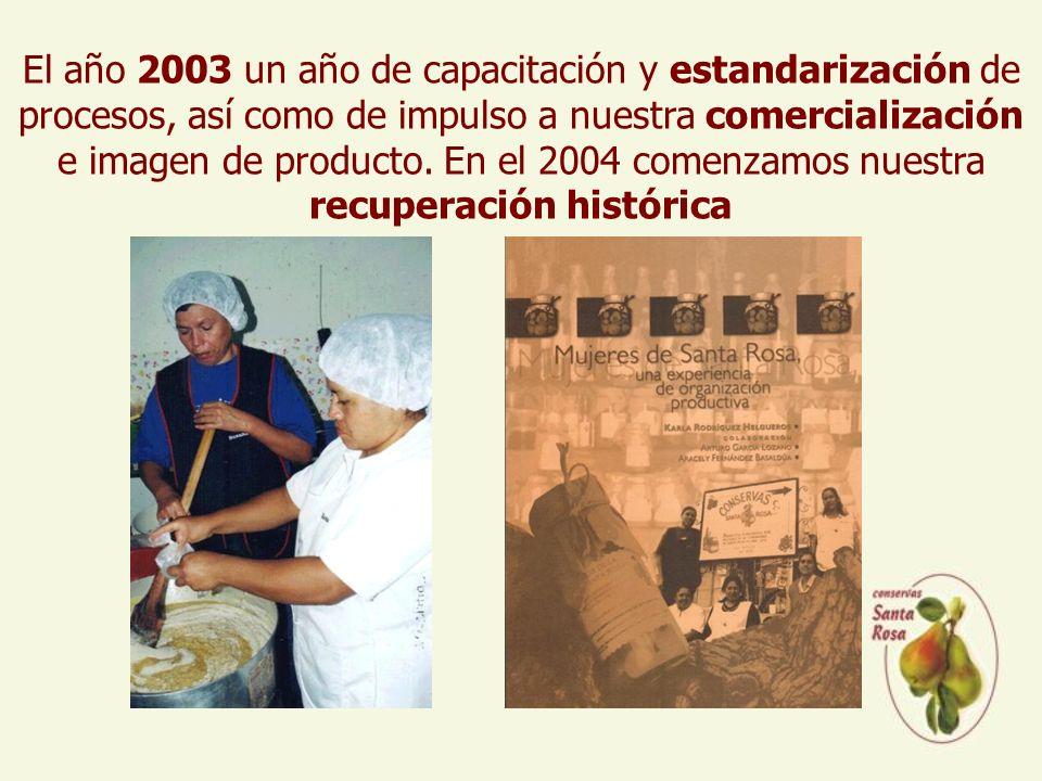 El año 2003 un año de capacitación y estandarización de procesos, así como de impulso a nuestra comercialización e imagen de producto.