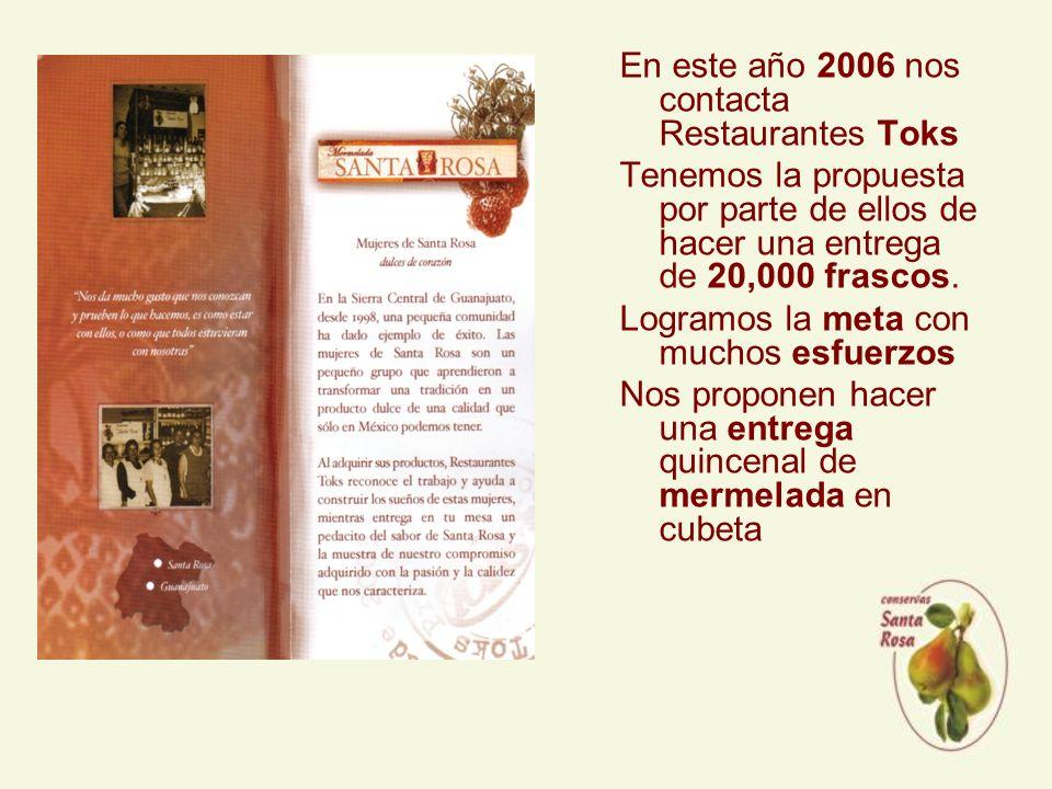 En este año 2006 nos contacta Restaurantes Toks Tenemos la propuesta por parte de ellos de hacer una entrega de 20,000 frascos.