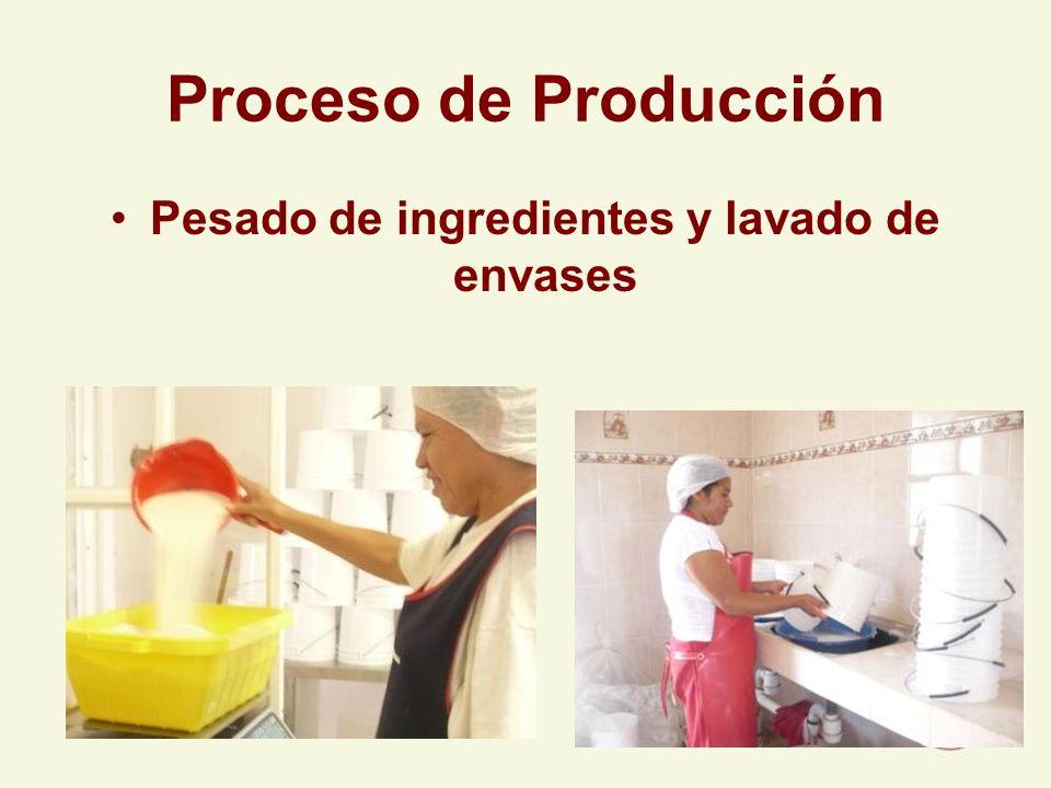 Proceso de Producción Pesado de ingredientes y lavado de envases