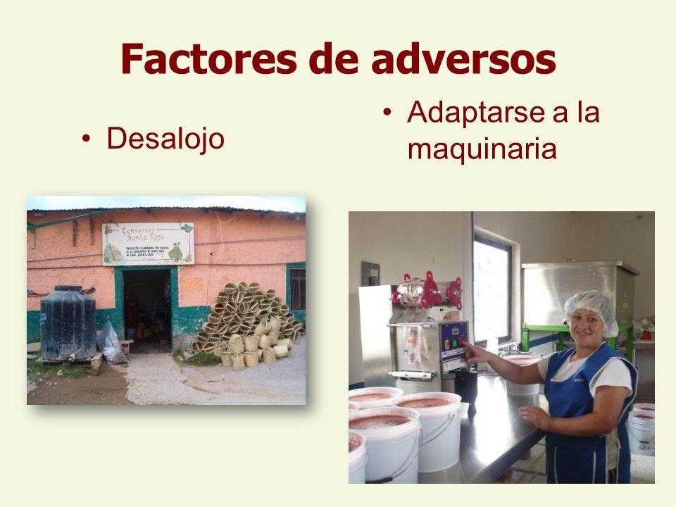 Factores de adversos Desalojo Adaptarse a la maquinaria