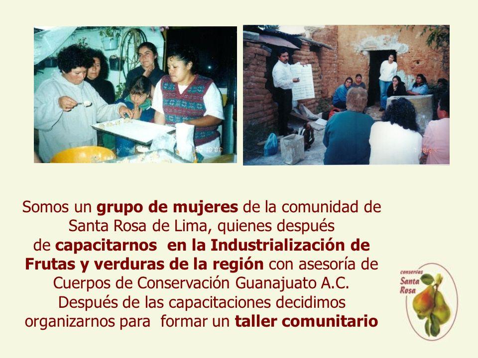 Somos un grupo de mujeres de la comunidad de Santa Rosa de Lima, quienes después de capacitarnos en la Industrialización de Frutas y verduras de la región con asesoría de Cuerpos de Conservación Guanajuato A.C.