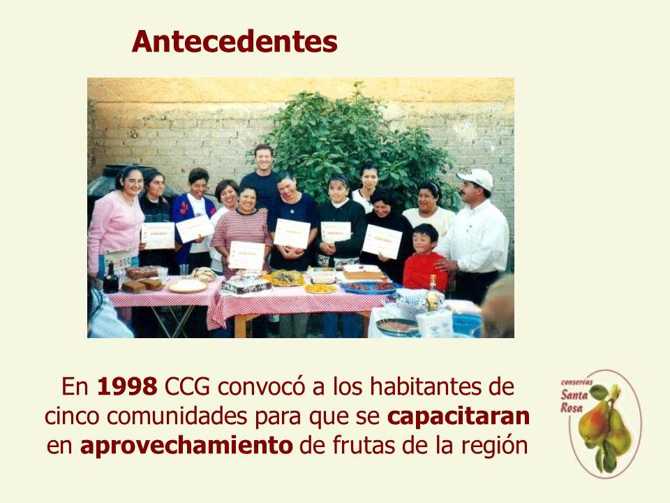En 1998 CCG convocó a los habitantes de cinco comunidades para que se capacitaran en aprovechamiento de frutas de la región Antecedentes