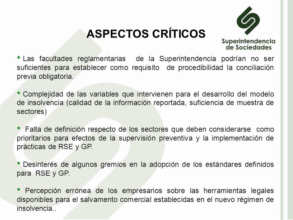 ASPECTOS CRÍTICOS Las facultades reglamentarias de la Superintendencia podrían no ser suficientes para establecer como requisito de procedibilidad la conciliación previa obligatoria.