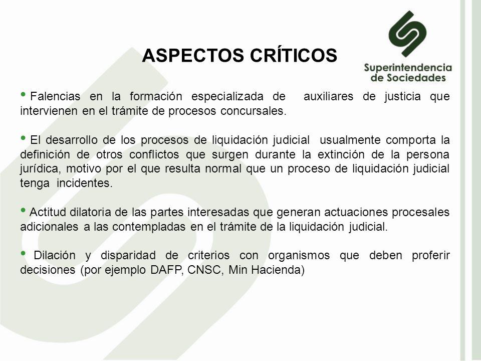 ASPECTOS CRÍTICOS Falencias en la formación especializada de auxiliares de justicia que intervienen en el trámite de procesos concursales.