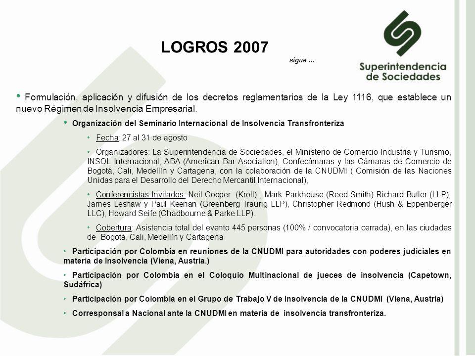 Formulación, aplicación y difusión de los decretos reglamentarios de la Ley 1116, que establece un nuevo Régimen de Insolvencia Empresarial.