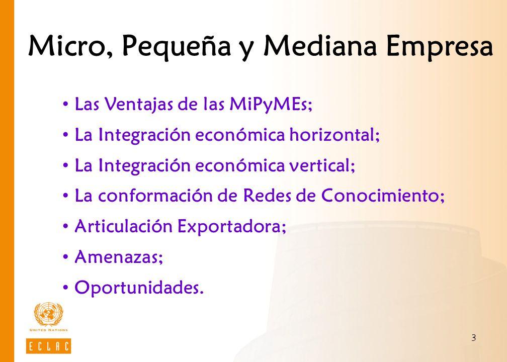 3 Micro, Pequeña y Mediana Empresa Las Ventajas de las MiPyMEs; La Integración económica horizontal; La Integración económica vertical; La conformació