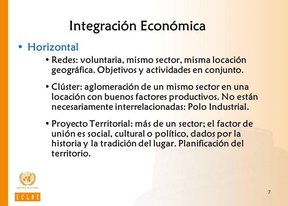 7 Integración Económica Horizontal Redes: voluntaria, mismo sector, misma locación geográfica. Objetivos y actividades en conjunto. Clúster: aglomerac
