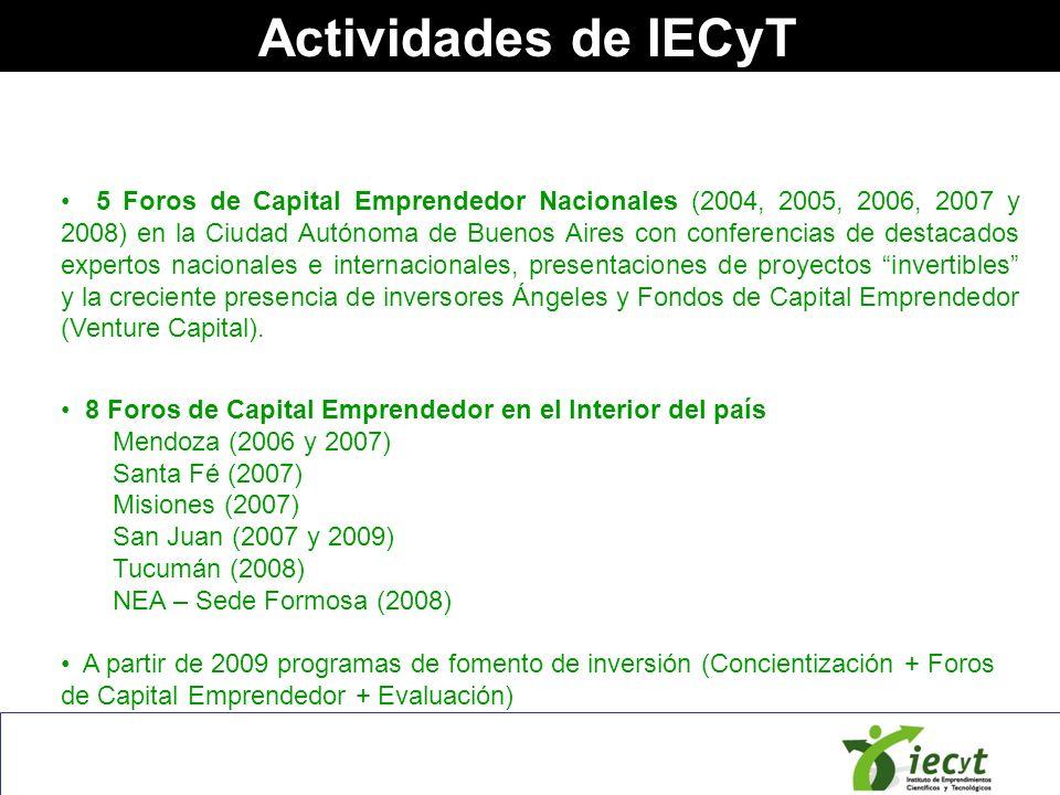 Actividades de IECyT 5 Foros de Capital Emprendedor Nacionales (2004, 2005, 2006, 2007 y 2008) en la Ciudad Autónoma de Buenos Aires con conferencias