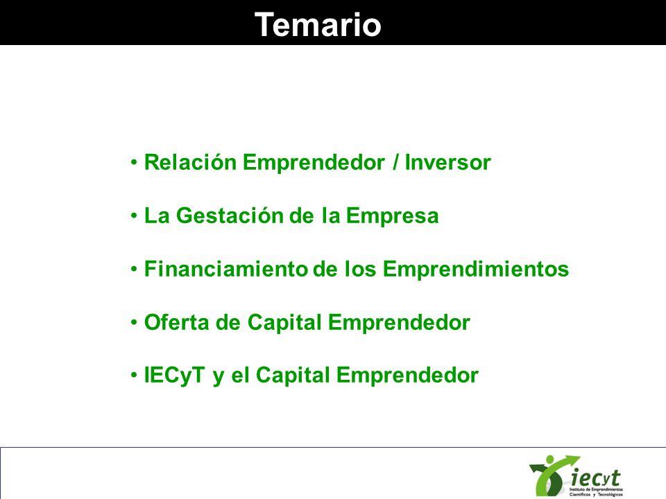 Temario Relación Emprendedor / Inversor La Gestación de la Empresa Financiamiento de los Emprendimientos Oferta de Capital Emprendedor IECyT y el Capi