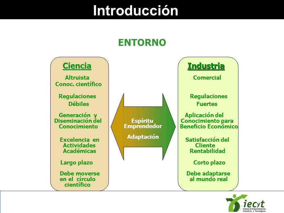 IntroducciónCienciaIndustria Excelencia en Satisfacción del Actividades Cliente Académicas Rentabilidad Generación y Aplicación del Diseminación del C