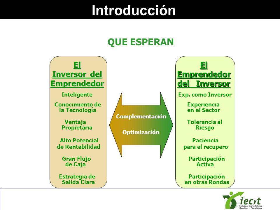 Introducción El Inversor del Emprendedor El Emprendedor del Inversor Ventaja Tolerancia al Propietaria Riesgo Conocimiento de Experiencia la Tecnologí