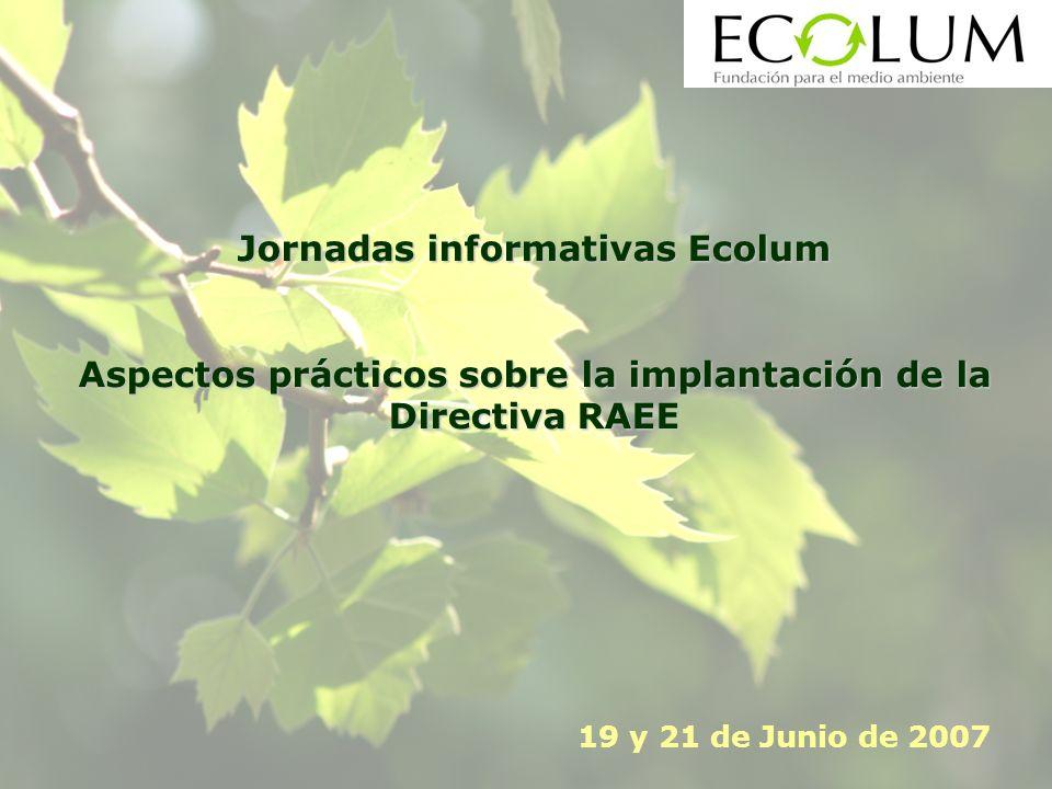 Jornadas informativas Ecolum Aspectos prácticos sobre la implantación de la Directiva RAEE 19 y 21 de Junio de 2007