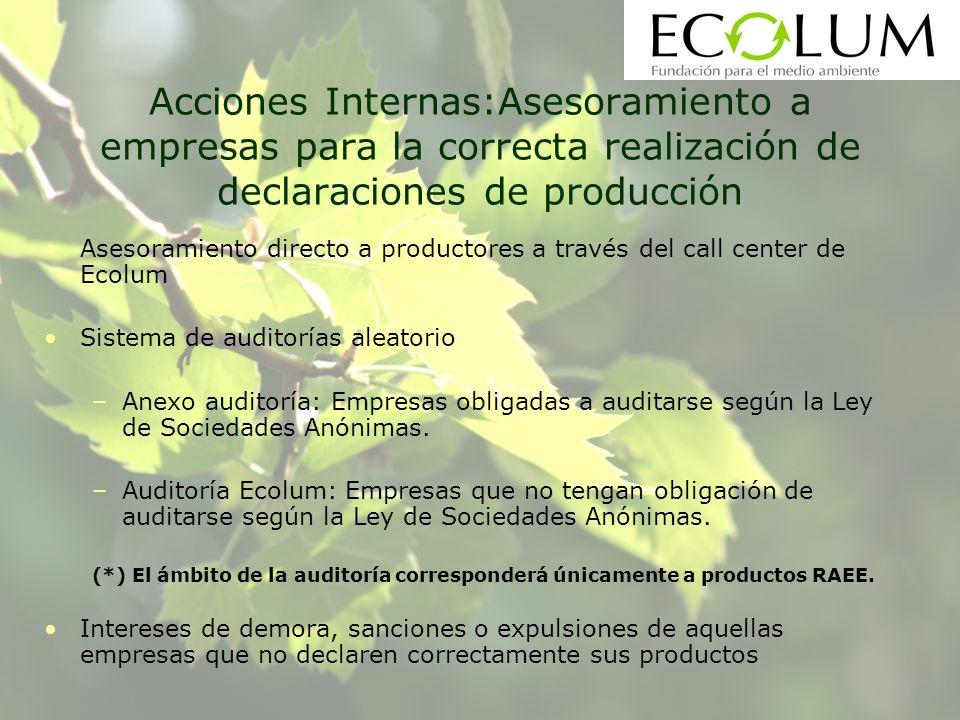 Acciones Internas:Asesoramiento a empresas para la correcta realización de declaraciones de producción Asesoramiento directo a productores a través de