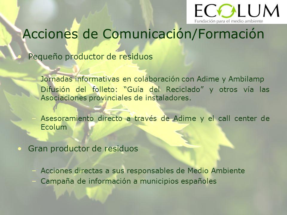 Acciones de Comunicación/Formación Pequeño productor de residuos –Jornadas informativas en colaboración con Adime y Ambilamp –Difusión del folleto: Gu