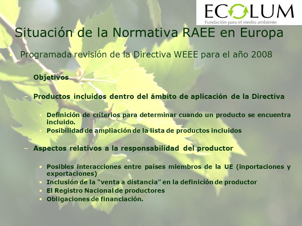 Situación de la Normativa RAEE en Europa Programada revisión de la Directiva WEEE para el año 2008 –Objetivos –Productos incluidos dentro del ámbito de aplicación de la Directiva Definición de criterios para determinar cuando un producto se encuentra incluido.