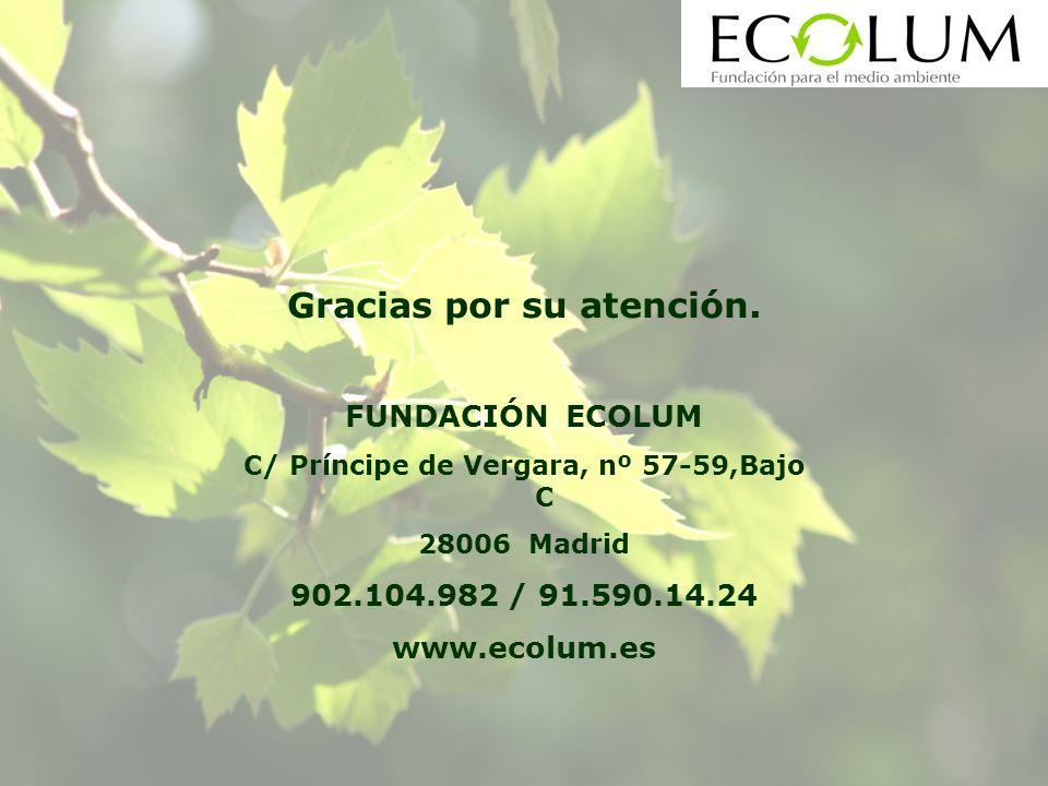 FUNDACIÓN ECOLUM C/ Príncipe de Vergara, nº 57-59,Bajo C 28006 Madrid 902.104.982 / 91.590.14.24 www.ecolum.es Gracias por su atención.