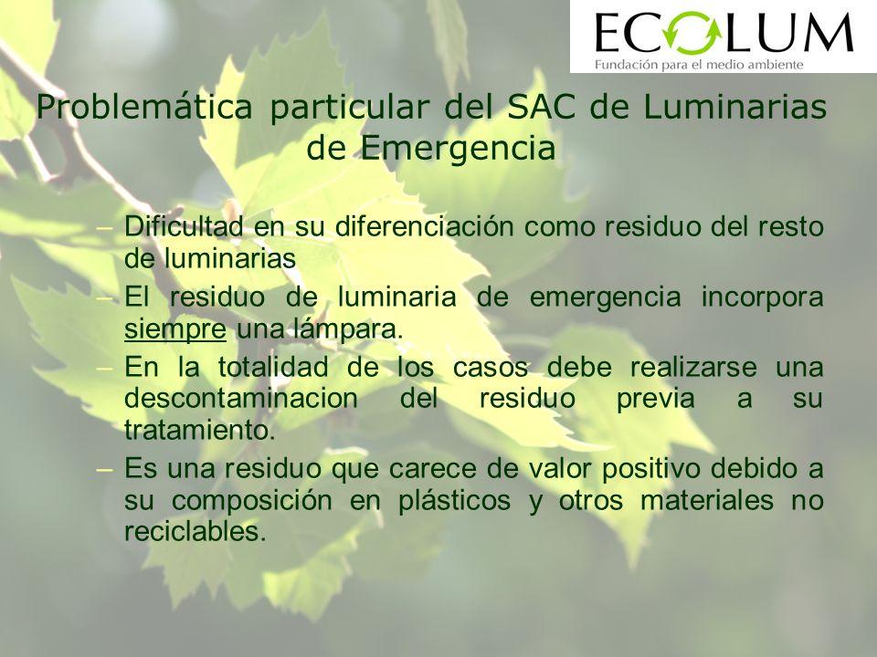 Problemática particular del SAC de Luminarias de Emergencia –Dificultad en su diferenciación como residuo del resto de luminarias –El residuo de luminaria de emergencia incorpora siempre una lámpara.
