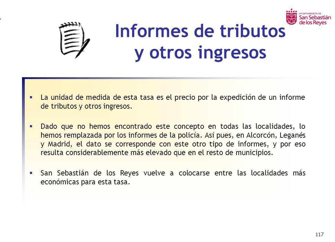 117 Informes de tributos y otros ingresos La unidad de medida de esta tasa es el precio por la expedición de un informe de tributos y otros ingresos.