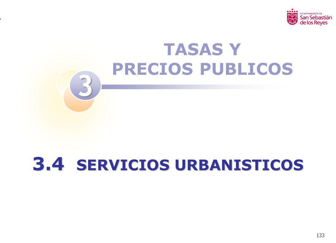 133 TASAS Y PRECIOS PUBLICOS 3 3.4 SERVICIOS URBANISTICOS