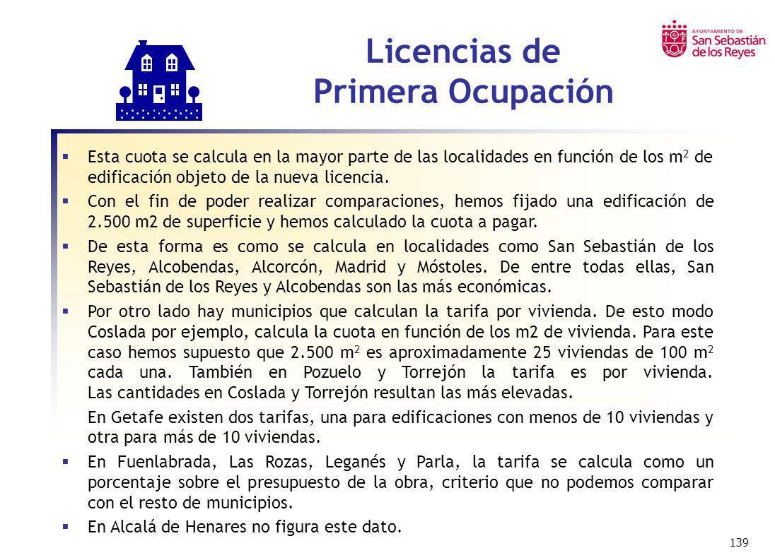 139 Licencias de Primera Ocupación Esta cuota se calcula en la mayor parte de las localidades en función de los m 2 de edificación objeto de la nueva