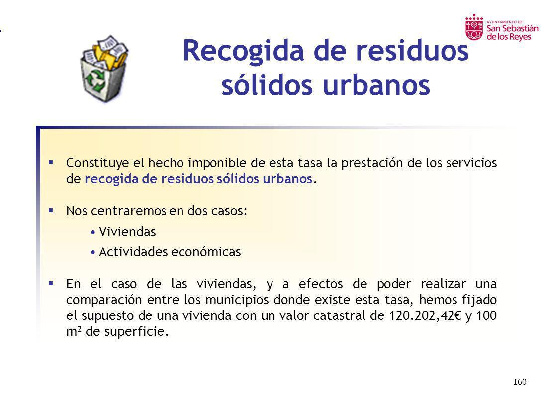 160 Recogida de residuos sólidos urbanos Constituye el hecho imponible de esta tasa la prestación de los servicios de recogida de residuos sólidos urb