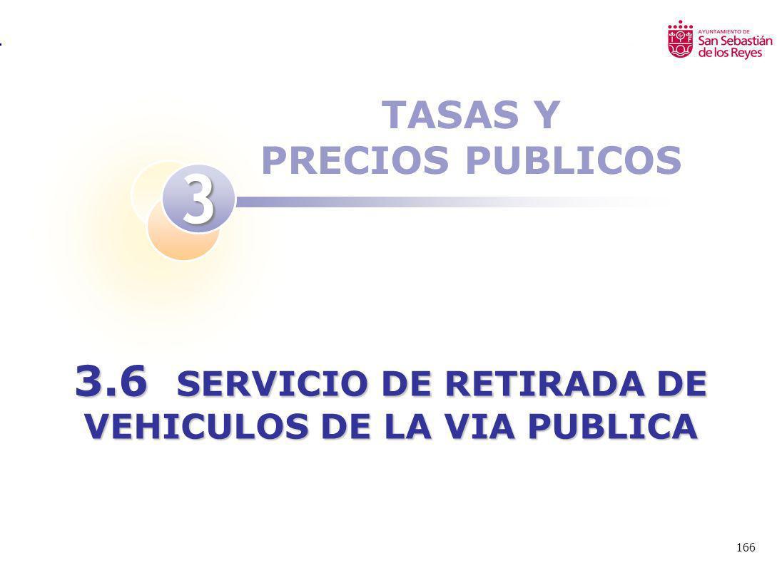 166 TASAS Y PRECIOS PUBLICOS 3 3.6 SERVICIO DE RETIRADA DE VEHICULOS DE LA VIA PUBLICA