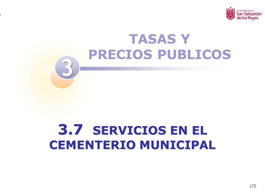 172 TASAS Y PRECIOS PUBLICOS 3 3.7 SERVICIOS EN EL CEMENTERIO MUNICIPAL