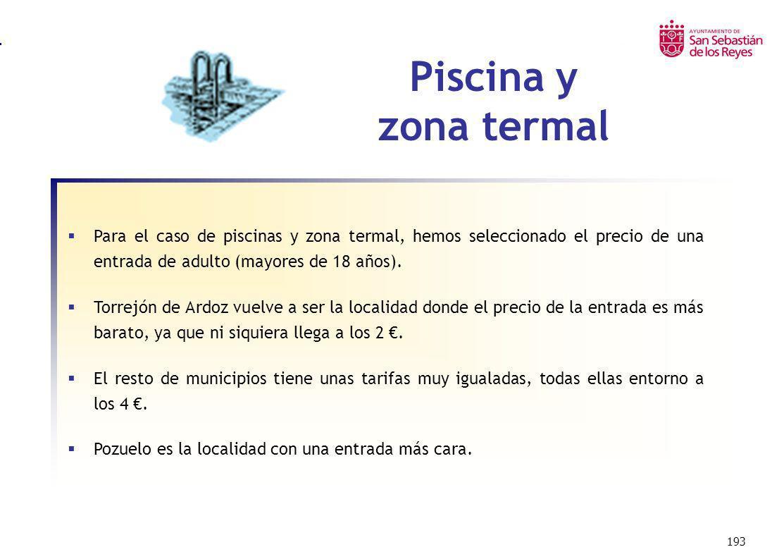 193 Piscina y zona termal Para el caso de piscinas y zona termal, hemos seleccionado el precio de una entrada de adulto (mayores de 18 años). Torrejón