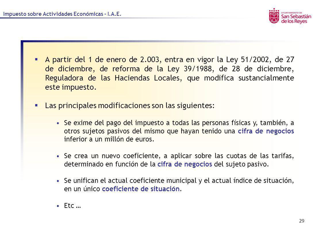 29 Impuesto sobre Actividades Económicas – I.A.E. A partir del 1 de enero de 2.003, entra en vigor la Ley 51/2002, de 27 de diciembre, de reforma de l