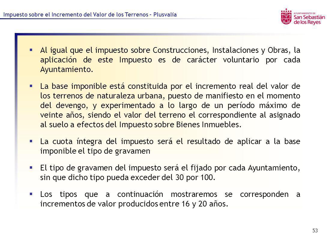 53 Al igual que el impuesto sobre Construcciones, Instalaciones y Obras, la aplicación de este Impuesto es de carácter voluntario por cada Ayuntamient