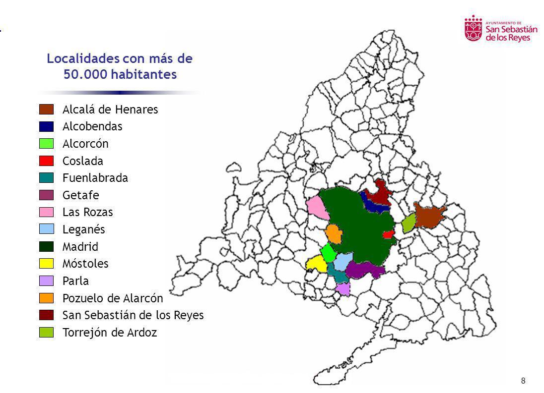 9 Localidades con más de 50.000 habitantes Alcalá de Henares Alcobendas Alcorcón Coslada Fuenlabrada Getafe Las Rozas Leganés Madrid Móstoles Parla Pozuelo de Alarcón San Sebastián de los Reyes Torrejón de Ardoz Número de habitantes CENSO 2.001 REVISION 2.002 176.434 92.090 153.100 77.884 182.705 151.479 63.385 173.584 2.938.723 196.524 79.213 68.214 61.884 97.887 179.602 95.104 149.594 79.862 179.735 153.868 62.527 174.436 3.016.788 198.819 80.545 71.246 60.323 101.056 Fuente I.N.E.