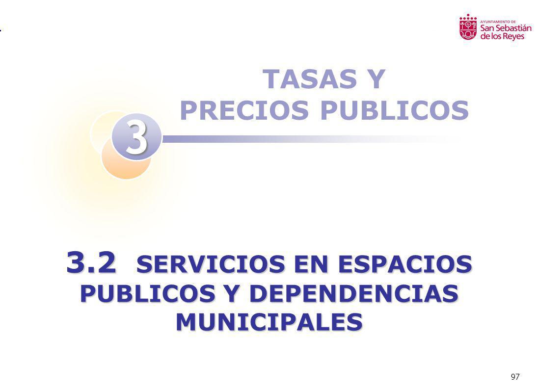 97 TASAS Y PRECIOS PUBLICOS 3 3.2 SERVICIOS EN ESPACIOS PUBLICOS Y DEPENDENCIAS MUNICIPALES