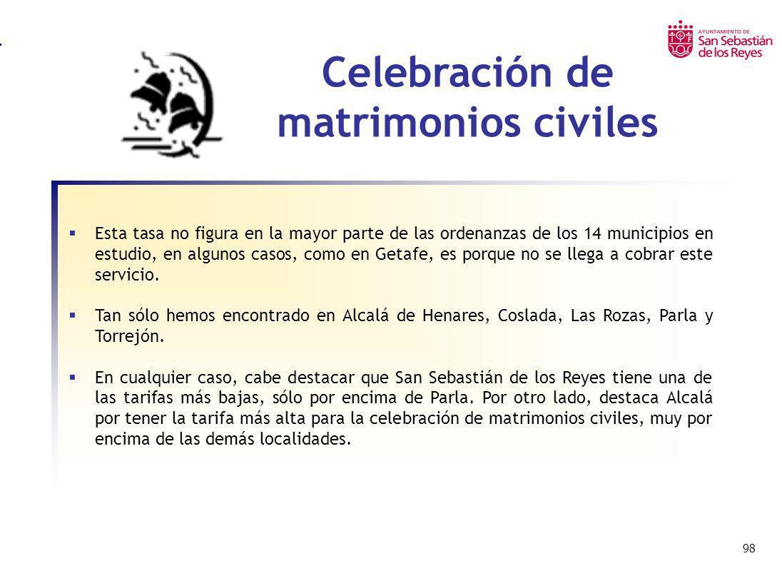 98 Celebración de matrimonios civiles Esta tasa no figura en la mayor parte de las ordenanzas de los 14 municipios en estudio, en algunos casos, como