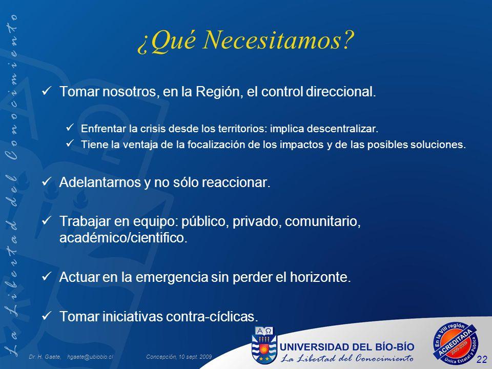 Dr. H. Gaete, hgaete@ubiobio.clConcepción, 10 sept. 2009 22 ¿Qué Necesitamos? Tomar nosotros, en la Región, el control direccional. Enfrentar la crisi