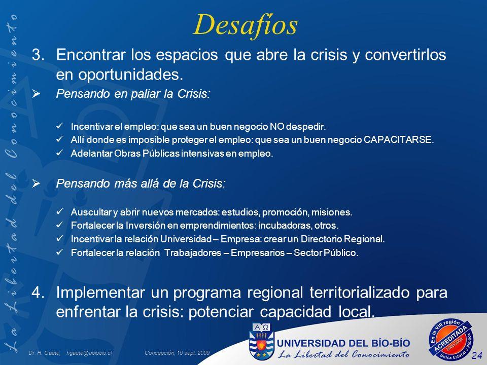 Dr. H. Gaete, hgaete@ubiobio.clConcepción, 10 sept. 2009 24 Desafíos 3.Encontrar los espacios que abre la crisis y convertirlos en oportunidades. Pens