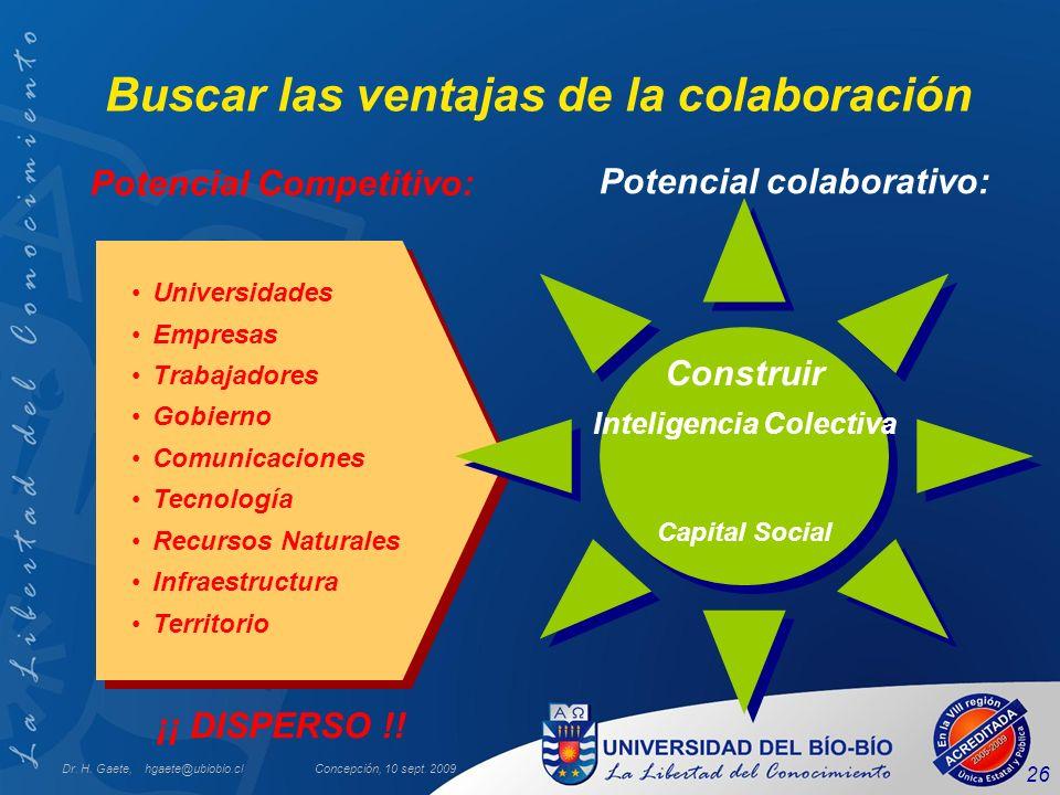 Dr. H. Gaete, hgaete@ubiobio.clConcepción, 10 sept. 2009 26 Buscar las ventajas de la colaboración Universidades Empresas Trabajadores Gobierno Comuni