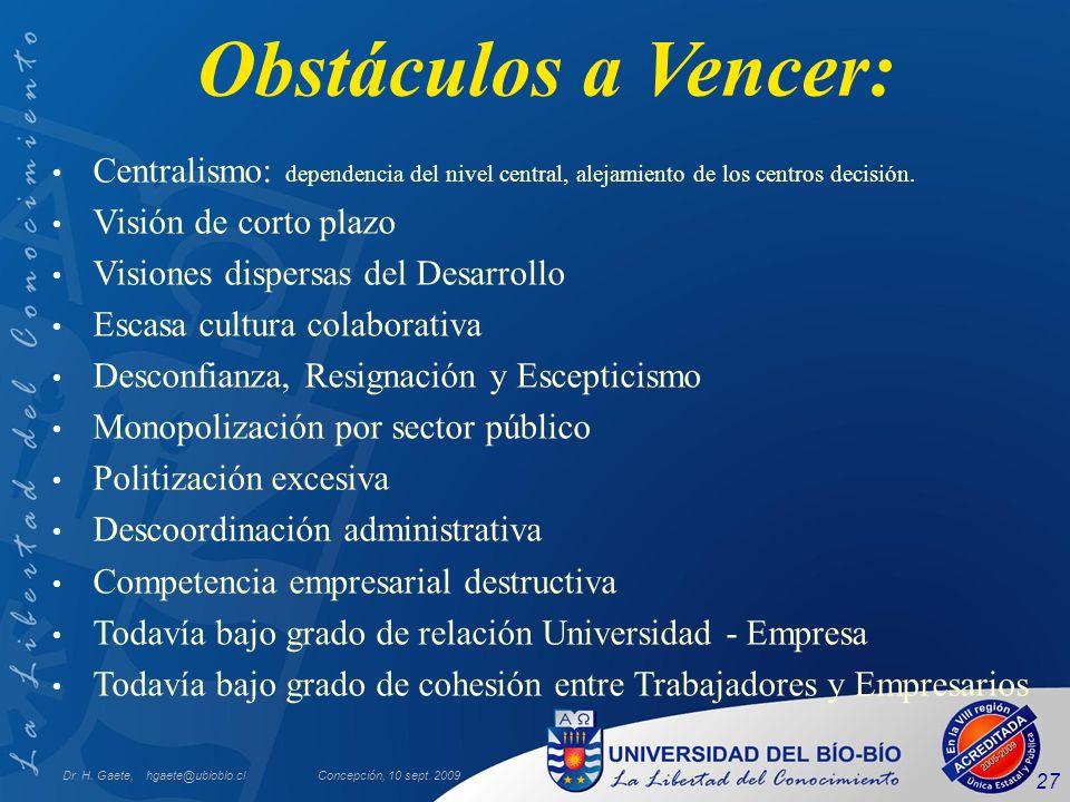 Dr. H. Gaete, hgaete@ubiobio.clConcepción, 10 sept. 2009 27 Obstáculos a Vencer: Centralismo: dependencia del nivel central, alejamiento de los centro