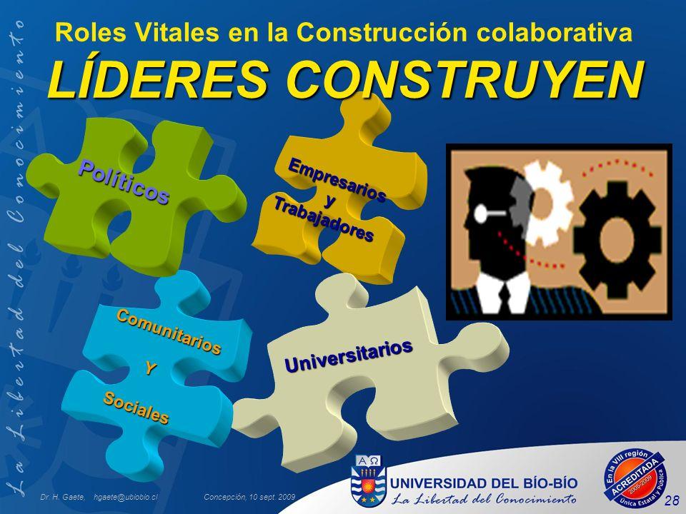 Dr. H. Gaete, hgaete@ubiobio.clConcepción, 10 sept. 2009 28 Empresarios yTrabajadores Universitarios Comunitarios YSociales Políticos LÍDERES CONSTRUY