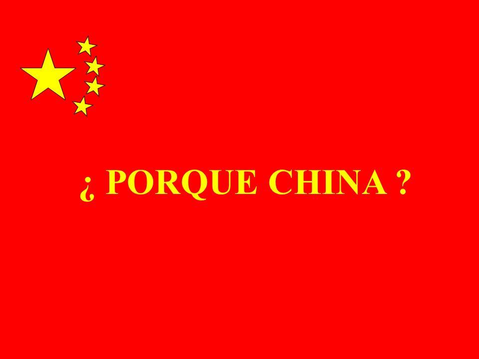 POBLACION : 1.300 MILLONES DE HABITANTES SUPERFICIE : 9.561.000 km2 IDIOMA OFICIAL : CHINO MANDARIN UNIDAD MONETARIA : YUAN SISTEMA POLITICO: REGIMEN DE PARTIDO UNICO (PARTIDO COMUNISTA CHINO) CHINA